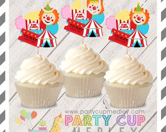 Circus Birthday Party Cupcake Toppers 10 or 20