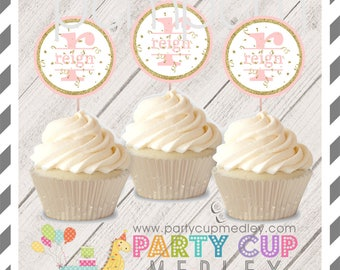 Pink and Gold 1st Birthday Party Cupcake Toppers 10 or 20