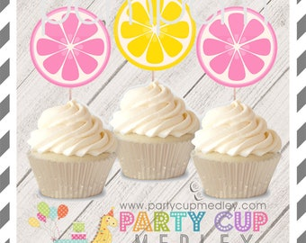 Pink Lemonade Birthday Party Cupcake Toppers 10 or 20