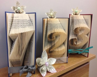 Folded book table numbers