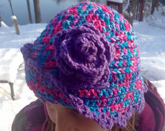 5f4074366b5b08 Crochet girls cloche hat with flower and brim in purple pink and aqua
