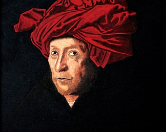 "Oil painting on cardboard. ""Portrait of a Man in a Red Turban""."