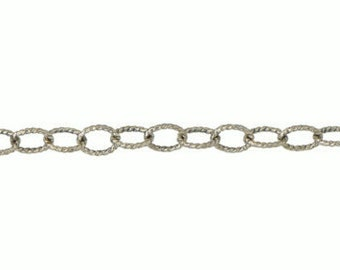 3.65 x 4.6mm Textured Oxidized Chain By the Foot - Sterling Silver (SS) Item # 3025-7OXITC