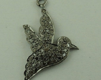 Genuine Natural Pave Diamond Dove Peace Bird Charm or Small Pendant, Sterling Silver.  ----Flying Bird charm 31mmx16mm