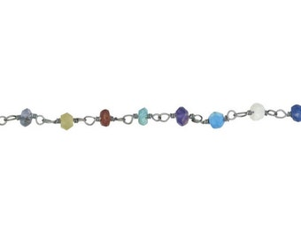 Disco Chain - Sterling Silver Oxidized Chain By the Foot (SS)