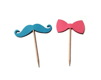 24 Mustache and Bow toothpicks, twin baby shower, Mustache birthday, gender reveal party, appetizer picks, food picks, cupcake toppers