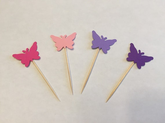 24 butterfly toothpicks baby shower birthday party etsy