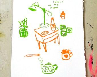 "Sérigraphie ""Things in my room"" / Marie Lou Duret"