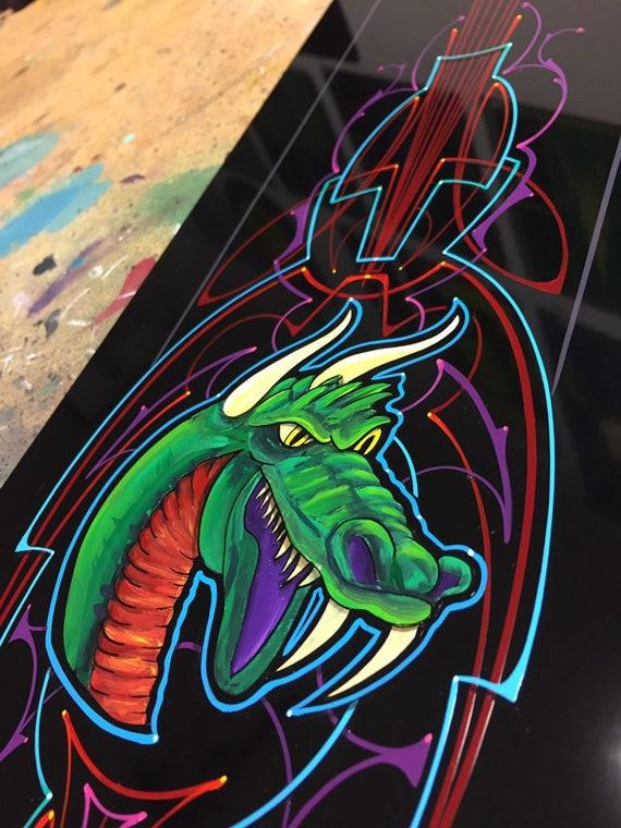 Dragon Wall Art Custom Pinstriping Lowbrow Art Mancave Etsy