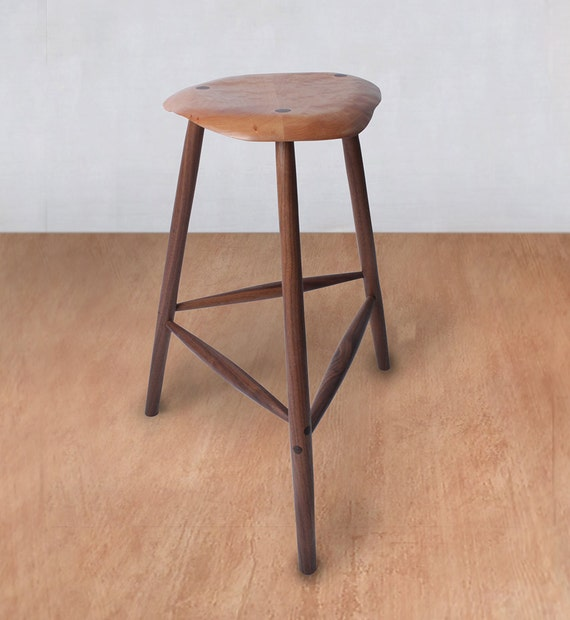 Wondrous Mid Century Modern Wood Stool Wooden Stool Bar Stool Kitchen Counter Barstool Esherick Custom Counter Height Vintage Music Guitar Camellatalisay Diy Chair Ideas Camellatalisaycom