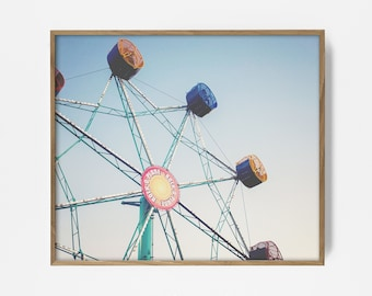 ferris wheel print, carnival photo, printable ferris wheel, ferriswheel print, carnival photo, retro ferris wheel, retro decor, retro print