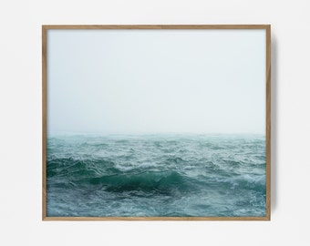 ocean fog print, wave print, ocean print, ocean art, ocean fog art, wave fog art, turquoise water print, turqoise beach print, wave art