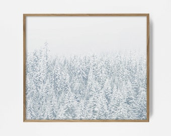 snow print, forest print, forest art, snow art, winter landscape print, tree top print, forest landscape, christmas print, printable snow