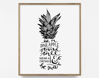 pineapple quote print, printable art, pineapple quote, summer wall art, beach decor, pineapple print, beach quote, tropical wall decor, art