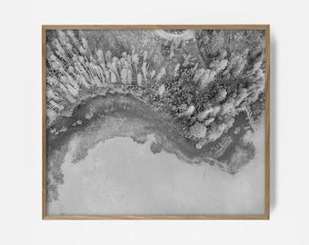 bw arial beach, arial shore, black white print, arial wall art, arial black and white, bw drone print, drone photography, printable arial