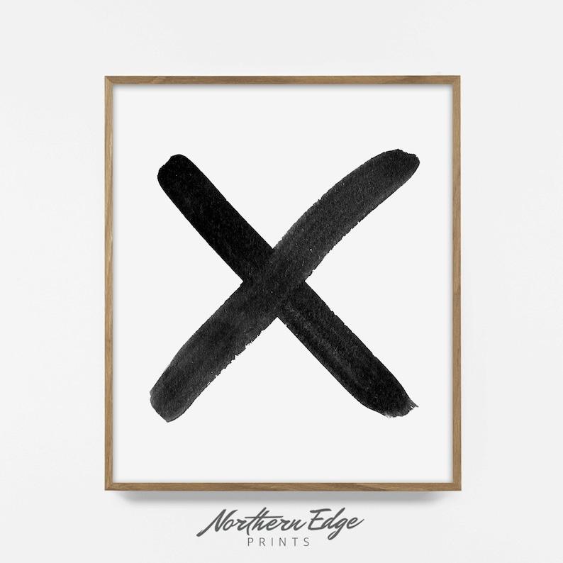 Black and White X Wall Art Brush Stroke Cross Print Modern image 0