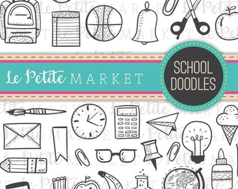 Cute School Clipart Classroom Teacher Back To Digital Stamps Icon Set Hand Drawn Doodles PNG
