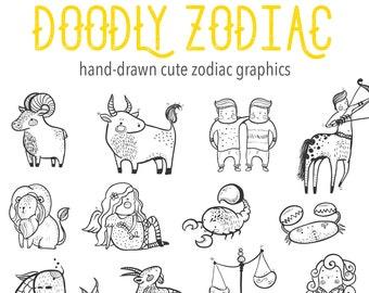 Doodly Hand Drawn Cute Zodiac Clipart, Pisces Aries Leo Gemini Aquarius Virgo Scorpio Taurus, Digital download Vector Clipart Clip Art