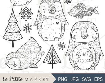 Cute Penguin Clip Art, Hand Drawn Penguin Clipart, Penguin Illustration Set, Penguin Digital Stamps, Penguin Digital Stickers, Cute Penguins