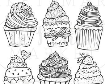 Hand Drawn Cupcake Clip Art, Cute Cupcake Clipart, Hand Drawn Cupcake Illustrations, Vector Cupcakes, Hand Drawn Cute Cupcake Clipart Set