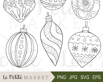 Hand Drawn Vintage Ornaments Illustrations, Holiday Ornaments Clip Art, Vintage Christmas Ornaments Clipart, Ornament Digital Stamps Sticker