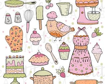 Cute Baking Clip Art Kitchen Clipart Cooking Bird Illustration Cupcake Pie Cake Apron Ice Cream