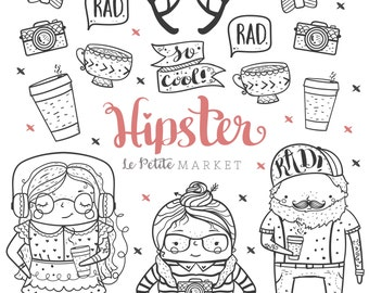 Cute Hand Drawn Hipster Clip Art, Cute Hipster Clipart, Hipster Illustrations, Hipster Kids Clip Art, Hipster Doodles Hipster Digital Stamps