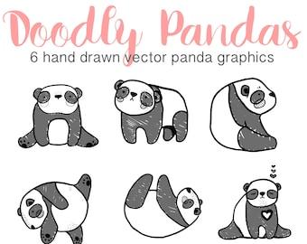 Hand Drawn Cute Panda Clip Art, Doodly Doodle Clip Art, Digital Panda Illustration, Vector Panda Clipart, Printable Instant Download