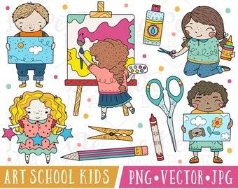 Cute School Kids Clipart Images, Cute School Clip Art, Art Class Kids Clipart, Cute Craft Clipart, Classroom Clipart, Kindergarten Clipart