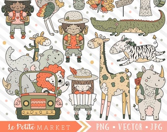 Cute Safari Clipart Set, Jungle Animals Clip Art, Safari Kids Adventure Digital Designs, Lion Alligator Zebra Giraffe Rhino, Vector Graphics