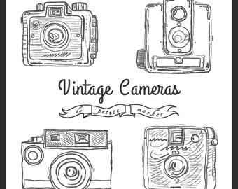 Items Similar To Little Cameras Cute Hand Drawn Digital
