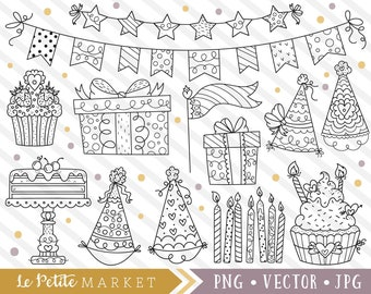 Cute Party Clipart Birthday Clip Art Images Cake Digistamps Digital Stamps Hats Cupcakes Candles Banner