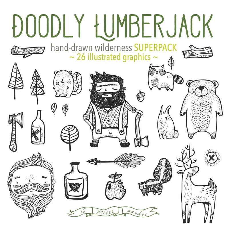 Hand Drawn Doodly Lumberjack Wilderness Forest Illustrated image 0