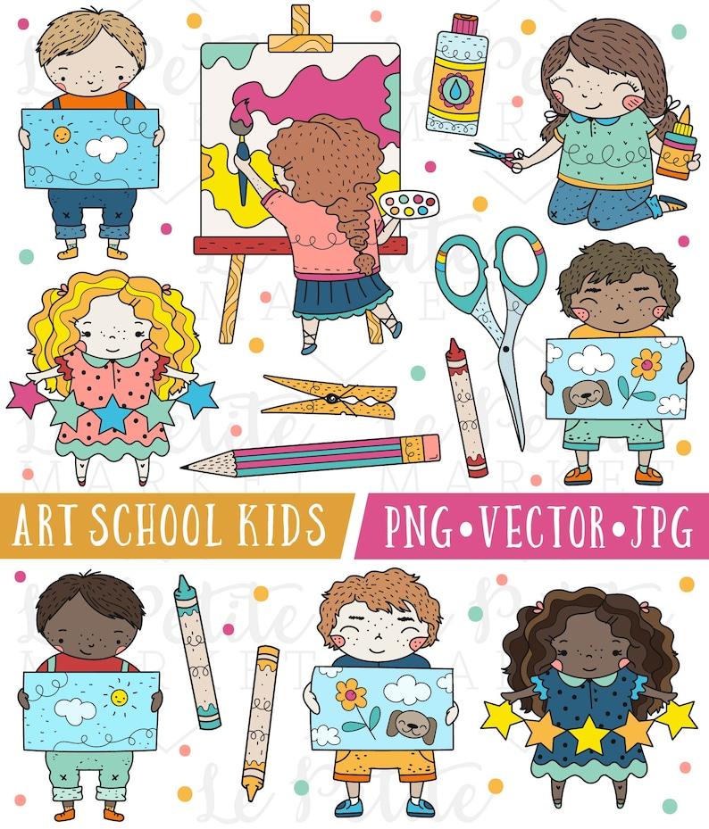 Cute School Kids Clipart Images Cute School Clip Art Art Etsy