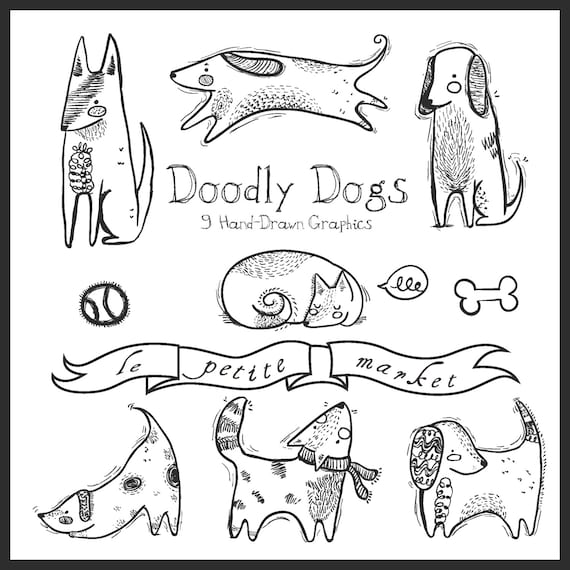 Doodly Cute Dog Clipart Dog Illustration Hand Drawn Dog Etsy
