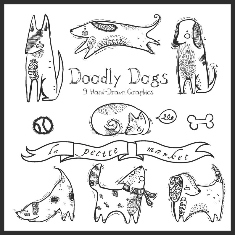 Doodly Cute Dog Clipart Dog Illustration Hand Drawn Dog Clipart Intant Download Digital Scrapbooking Dogs Dog Vector Graphics