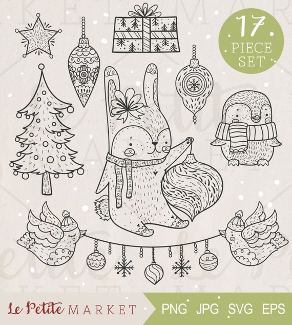 Cute Hand Drawn Woodland Animals Holiday Clip Art Set | Etsy