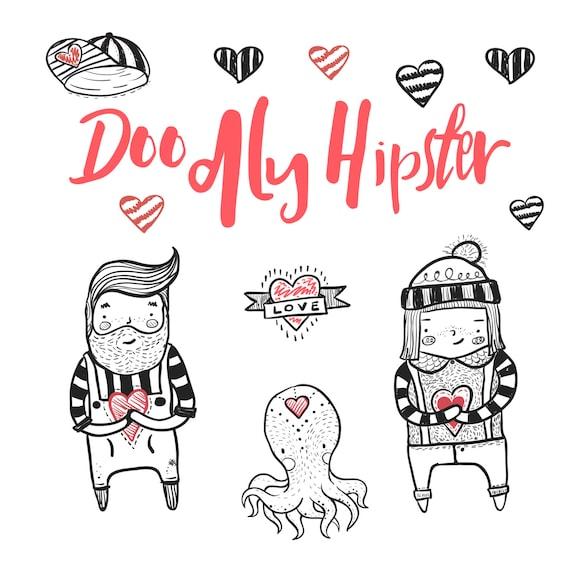 Ilustración de dibujado a mano lindo Hipster corazón Clipart | Etsy