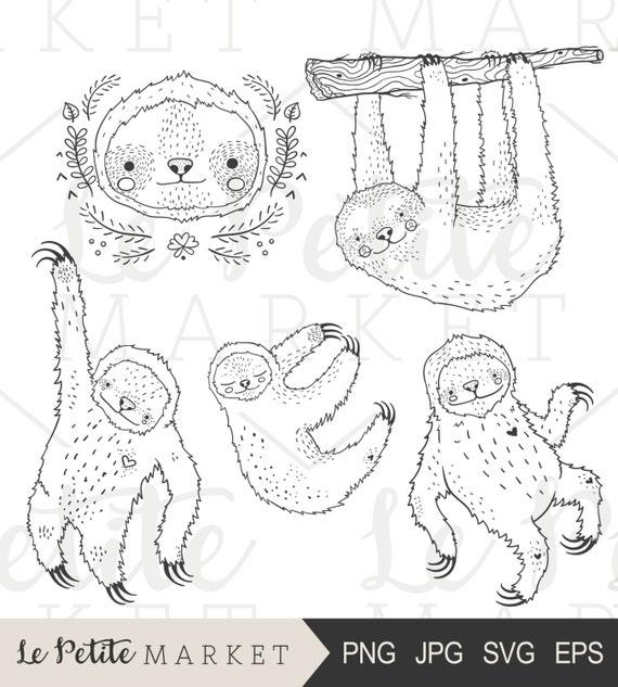 La mano pereza elaborado Clip Art Clipart lindo perezoso | Etsy