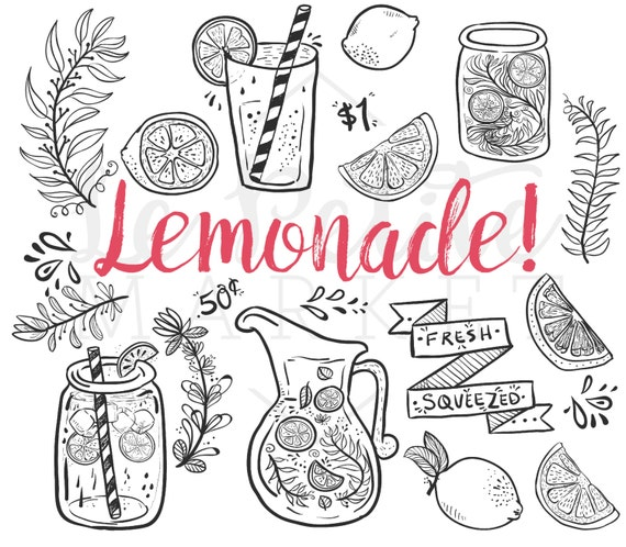Doodle mano dibujado limonada verano Clip Art Clipart de | Etsy