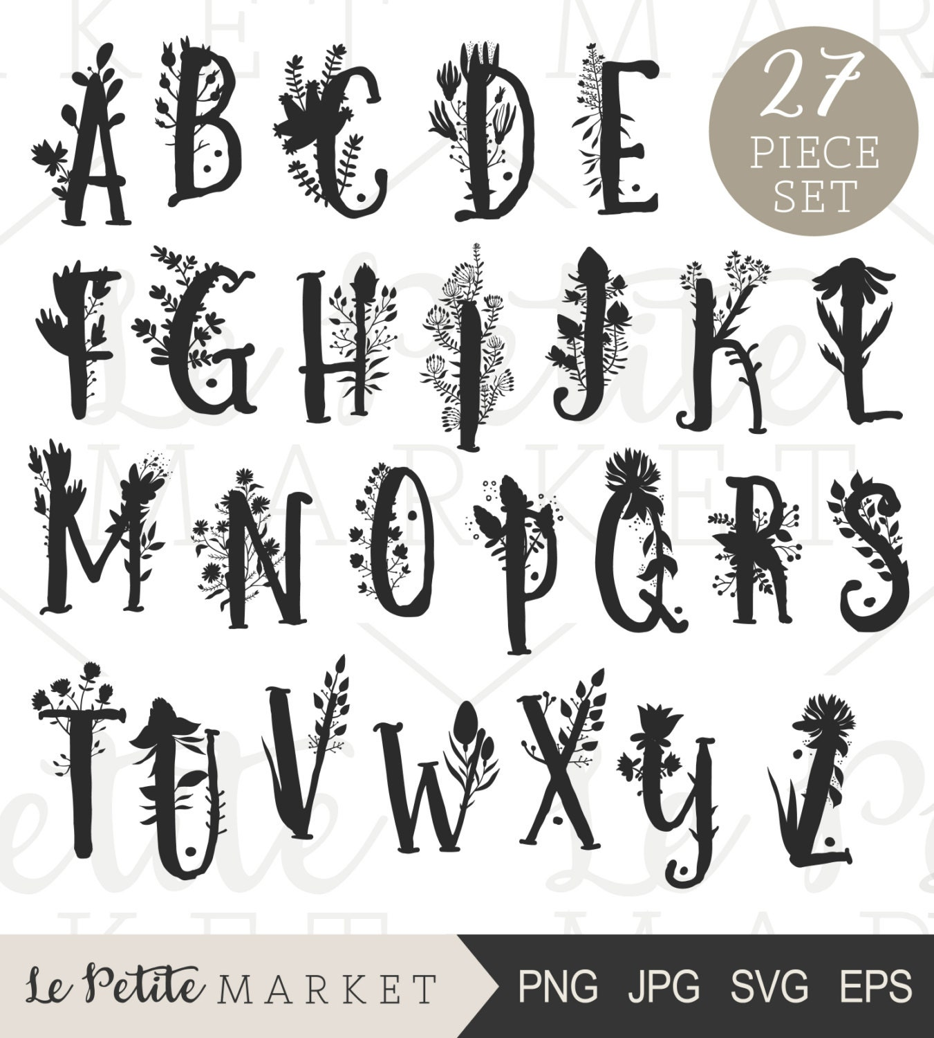 Hand Drawn Floral Letters Alphabet Clip Art Printable Nursery Art