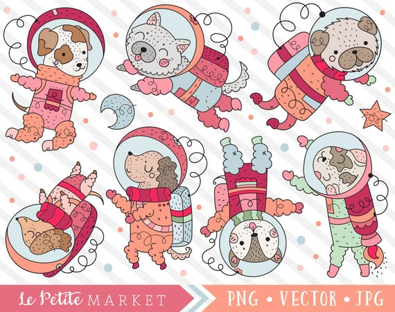 Astronaut Dog Clipart Set Cute Dog Astronauts In Space Cute Etsy