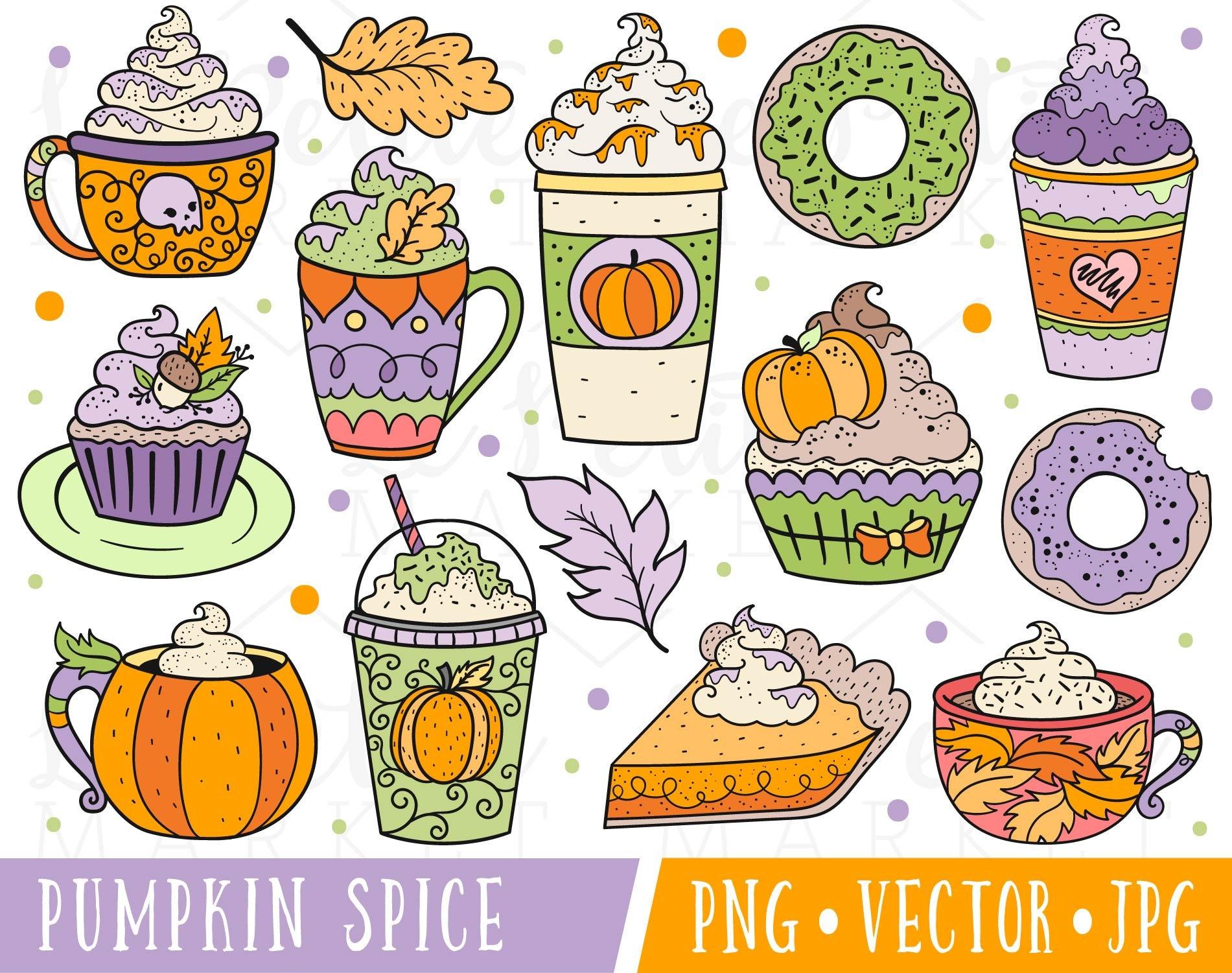 Cute Pumpkin Spice Clipart Images Pumpkin Spice Latte | Etsy
