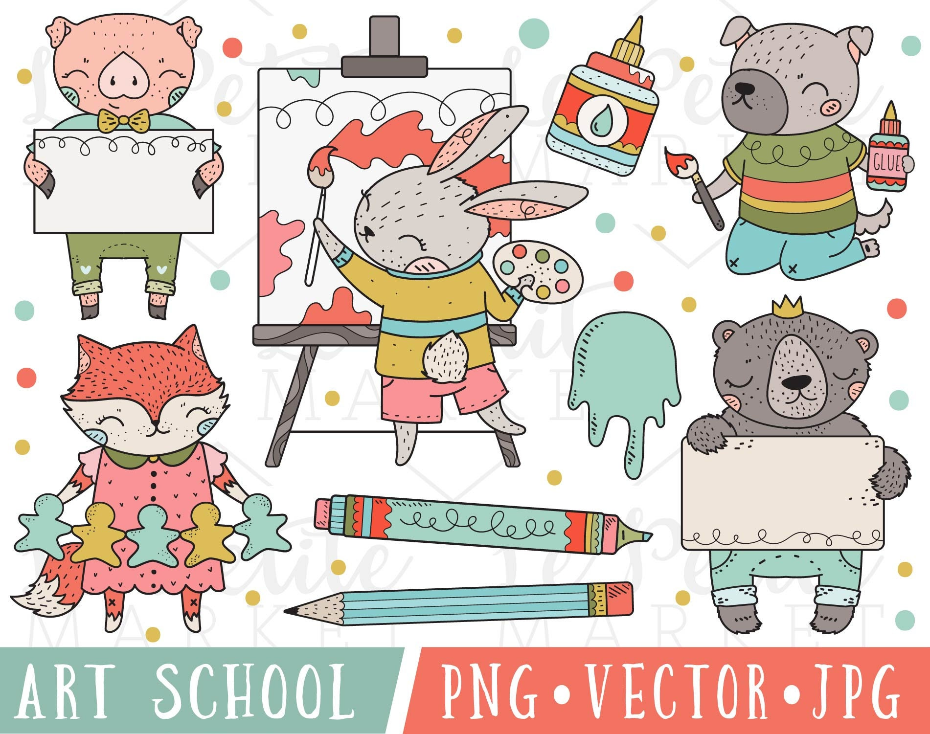 cute school animals clipart images art school clipart cute | etsy