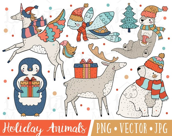 Christmas Illustrations Png.Festive Holiday Animal Clipart Images Christmas Illustrations Clip Art Winter Unicorn Clipart Christmas Seattle Otter Penguin Caribou Png