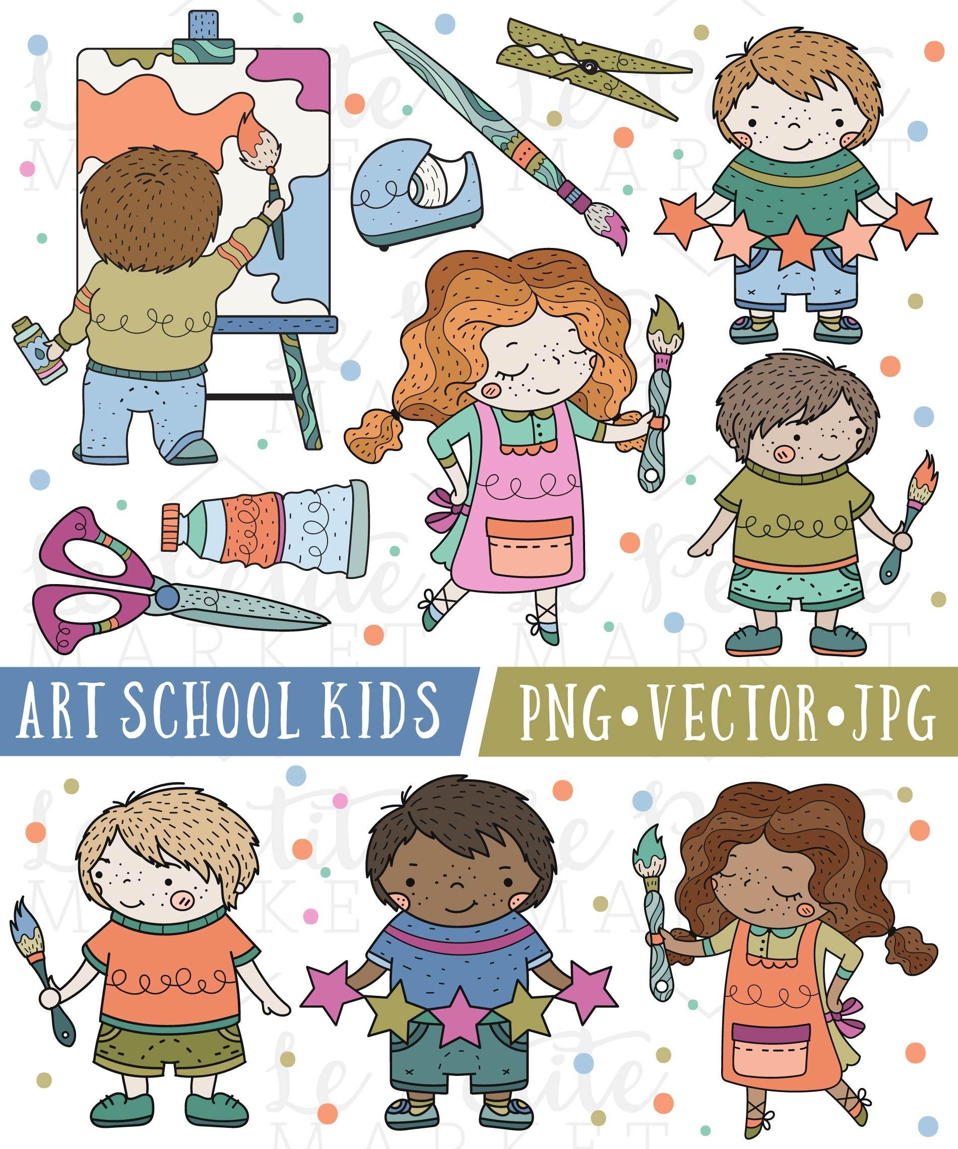 Schule Kinder Clipart süße Kunst-Klasse Clipart süße | Etsy