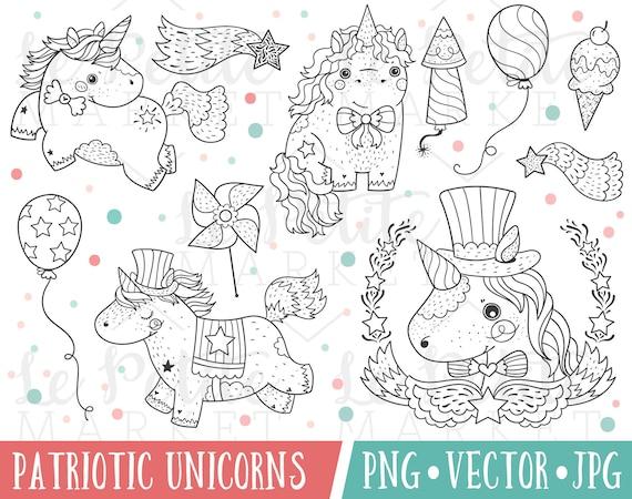 Unicornio patriótica Imágenes Prediseñadas 4 de julio | Etsy