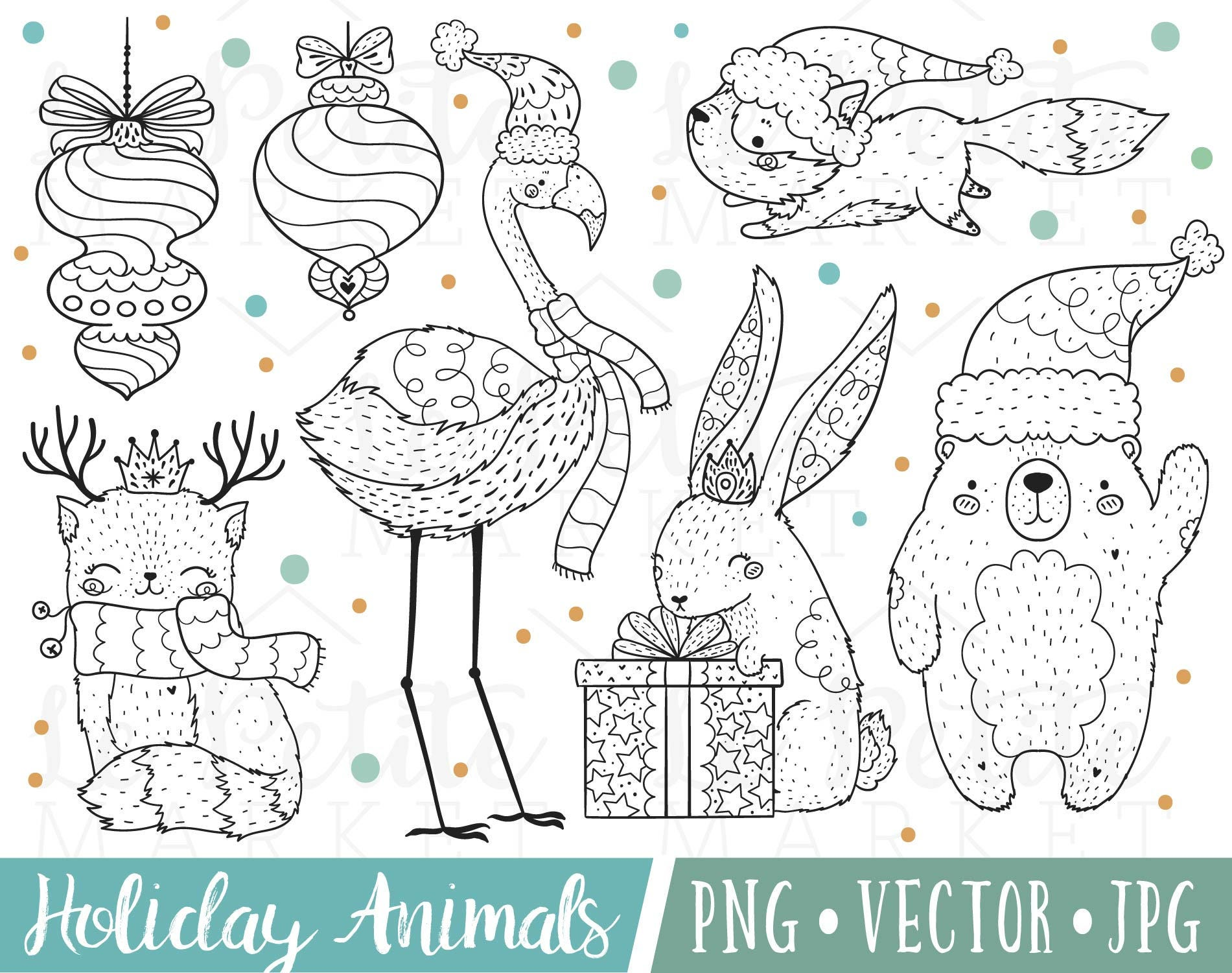 Cute Christmas Animals Clipart Cute Winter Animals Clipart | Etsy
