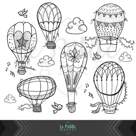 Dibujado a mano lindo aire caliente globo Clip Art, Doodle globos de ...