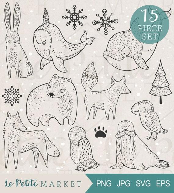 Dibujado a mano Ártico Clip animales arte Set animales | Etsy